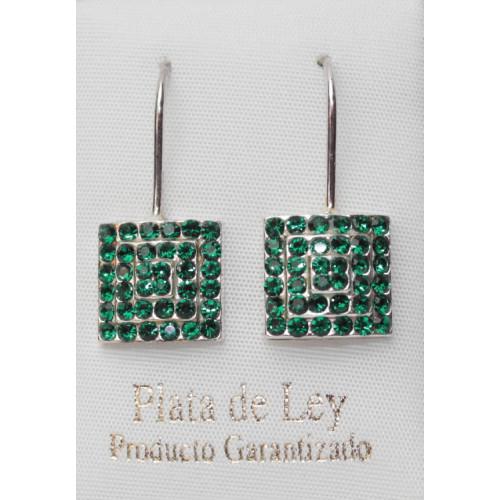 pendiente cristal verde esmeralda