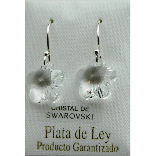 Pendiente swarovski flor blanco -14mm